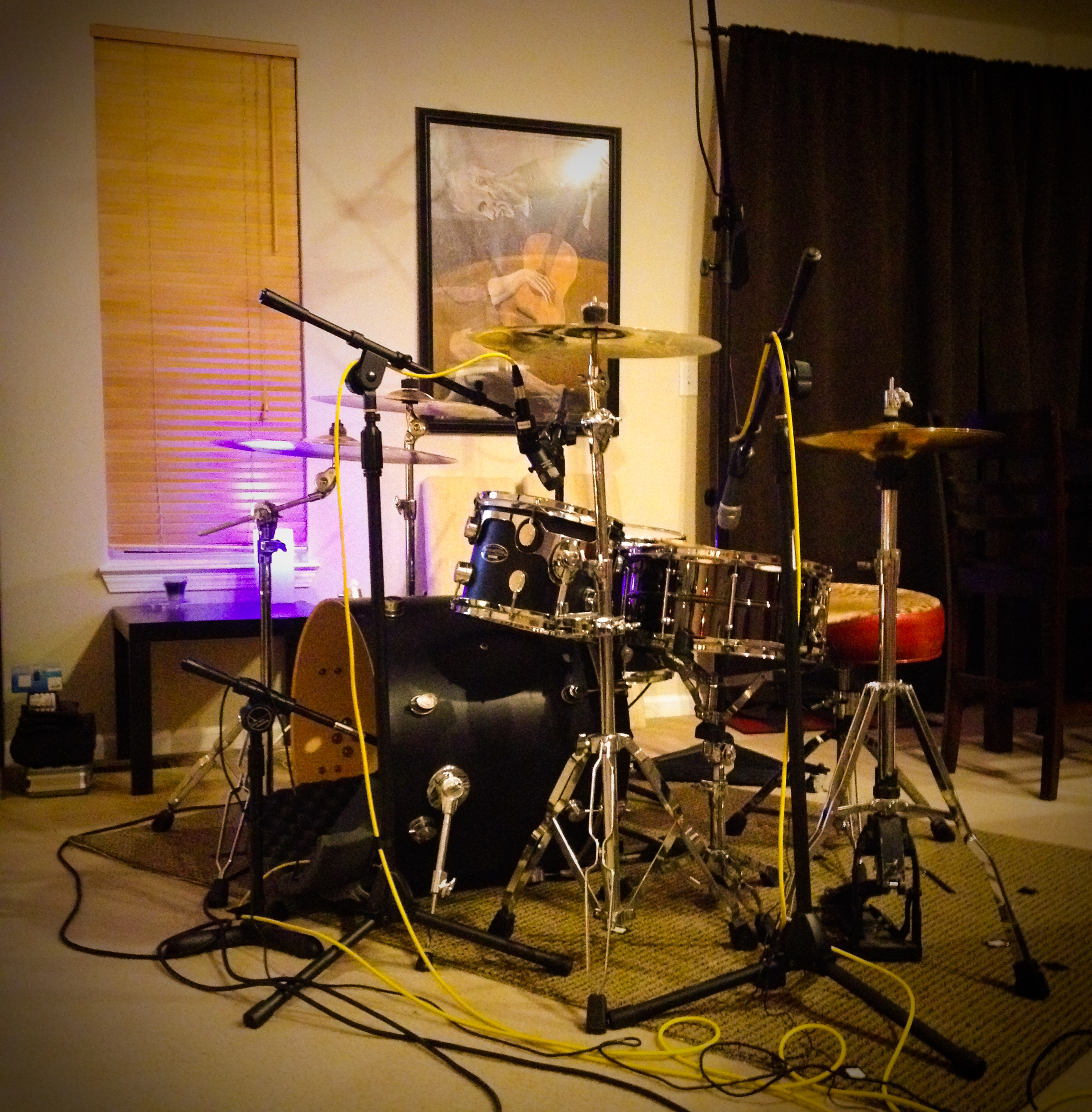 Jordan's kit, tuned and mic'd